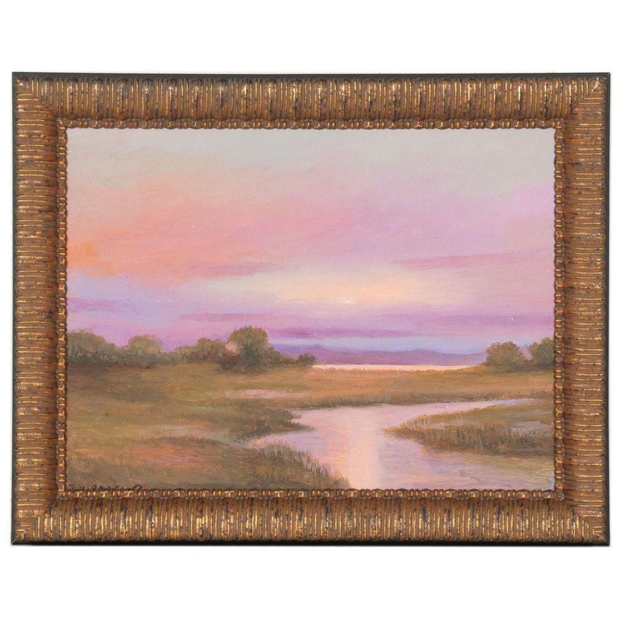 S. H. Raovano Landscape Oil Painting of Marshy Lowlands at Sunset, 2021