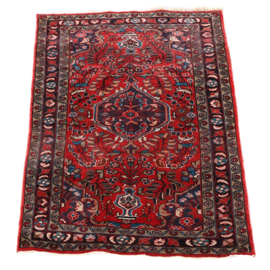 3'8 x 5'7 Hand-Knotted Persian Arak Wool Area Rug