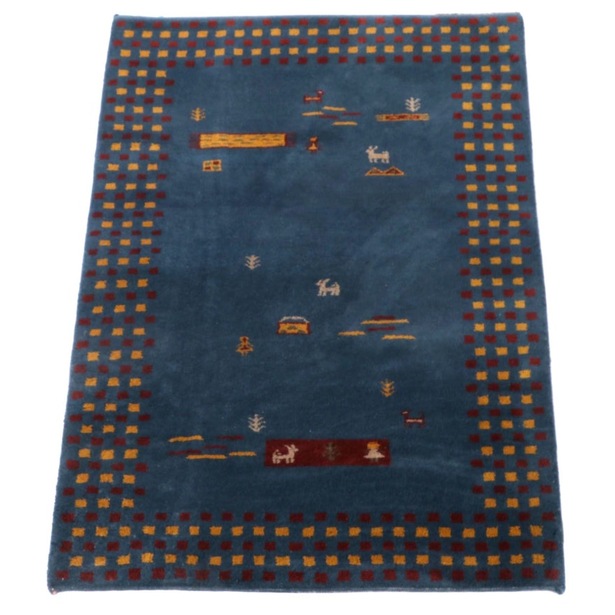 3'11 x 5'10 Hand-Knotted Persian Gabbeh Wool Area Rug