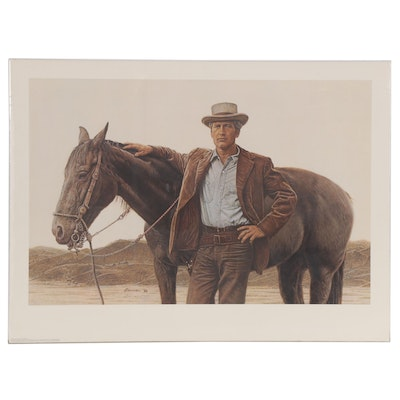 "James Bama Offset Lithograph of Paul Newman with Horse ""Butch Cassidy"""