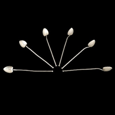 Webster Sterling Silver Heart Form Stir Straws, 20th Century