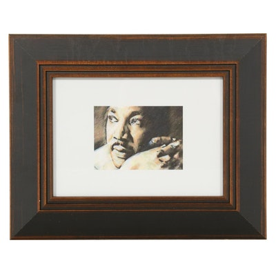 "Chuckles Rzeppa Watercolor Painting Over Giclée ""Dr. Martin Luther King,"" 2021"