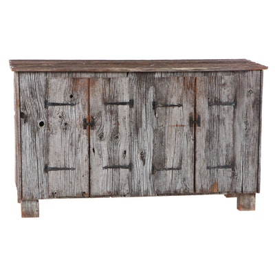 Bespoke Rustic Reclaimed Wood Cabinet with Iron Hinges