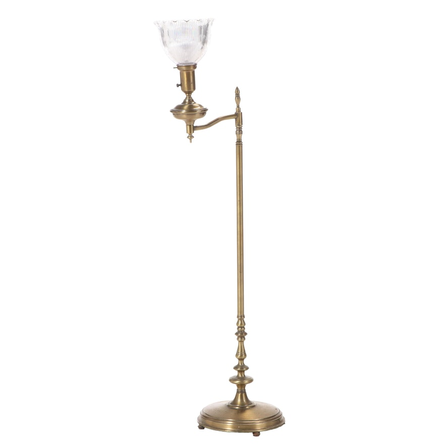 Brass Swing-Arm Floor Lamp with Holophane Shade, Early/Mid 20th Century