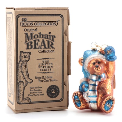 "The Boyds Collection ""True Blue Mohair Bear"" Blown Glass Ornament"