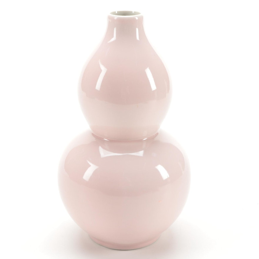 Chinese Pink Ceramic Double Gourd Vase