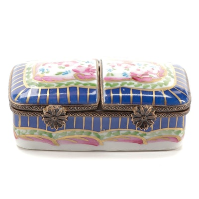 Hand-Painted Limoges Porcelain and Gilt Pill Box