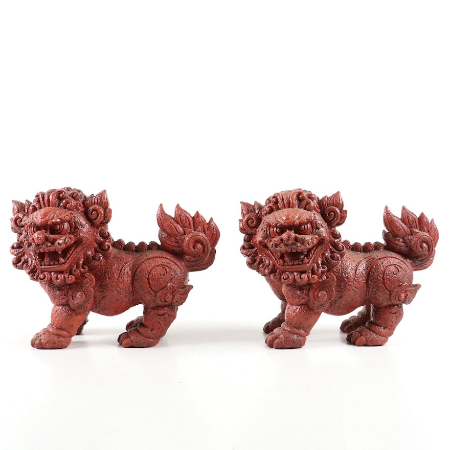 Red Resin Chinese Guardian Lions Figurines, Late 20th Century