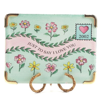 """Halcyon Days Enamels """"Just to Say I Love You"""" Envelope with Stand"""