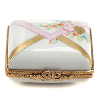 Rochard Hand-Painted Porcelain Limoges Pill Box