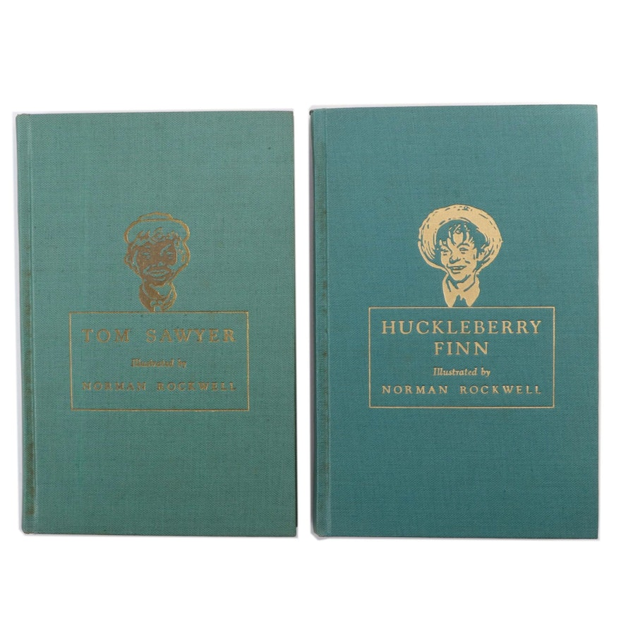 """Normal Rockwell Illustrated """"Tom Sawyer"""" and """"Huckleberry Finn"""" by Mark Twain"""