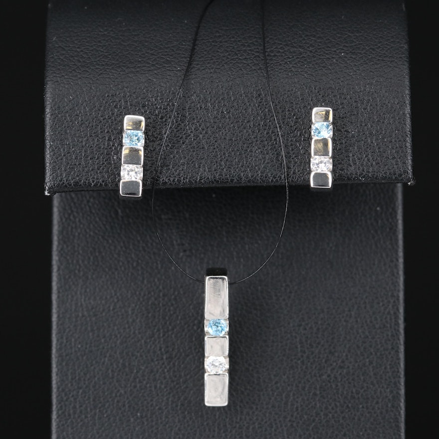 Sterling Topaz and Cubic Zirconia Bar Pendant and Earring Set