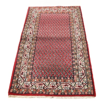 3' x 5'6 Hand-Knotted Indo-Persian Mir Sarouk Accent Rug, 1990s