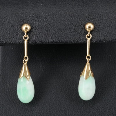 14K Jadeite Drop Earrings