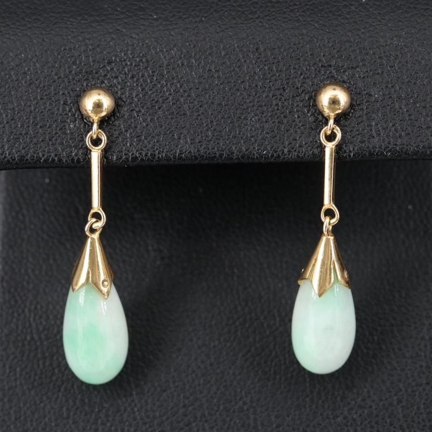 14K Jadeite Drop Earrings