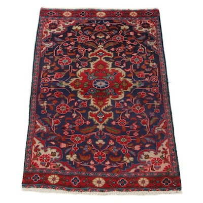 1'10 x 2'11 Hand-Knotted Persian Jozan Sarouk Signed Accent Rug, 1950s