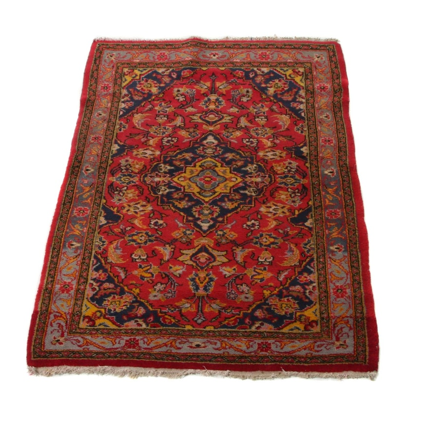 2'10 x 3'11 Hand-Knotted Persian Kashan Accent Rug, 1970s