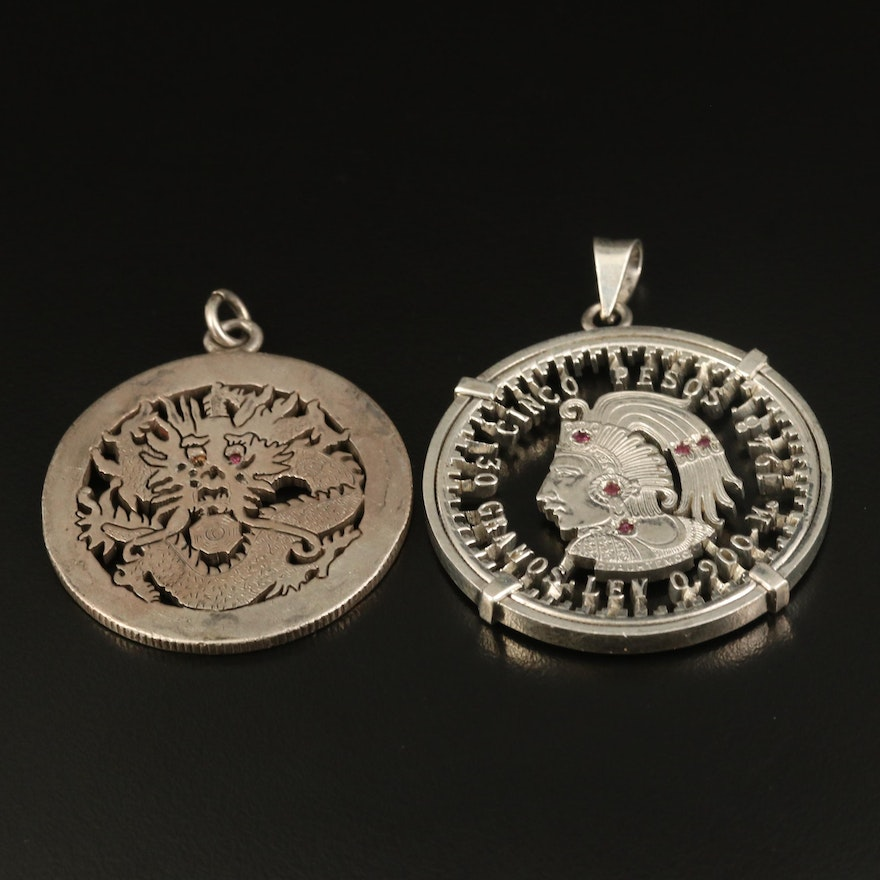 """Mexican Silver 1 and 5 Pesos Silhouette """"Cut-Coin"""" Pendants"""