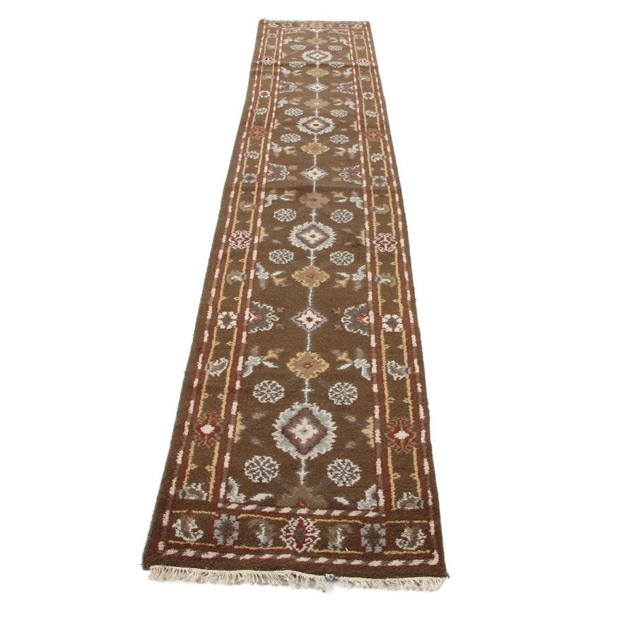 2'7 x 14'4 Hand-Knotted Indo-Turkish Oushak Carpet Runner, 2000s