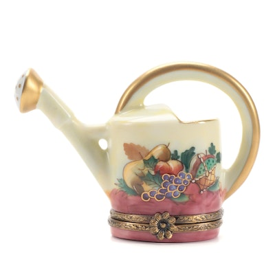 Rochard Hand-Painted Watering Can Porcelain Limoges Box