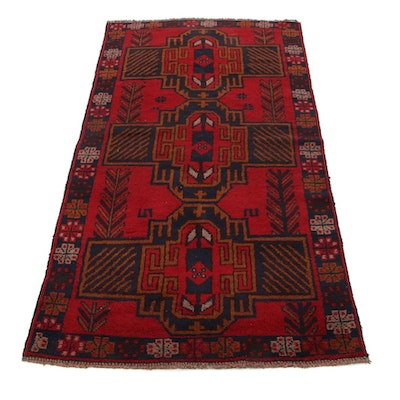 3'7 x 6'8 Hand-Knotted Afghan Baluch Area Rug, 2000s