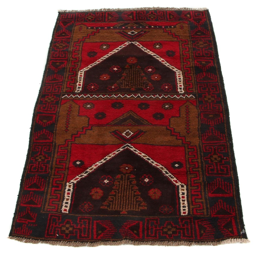 3'0 x 4'10 Hand-Knotted Afghan Baluch Pictorial Accent Rug, 2000s
