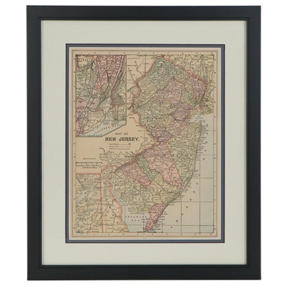 Wood Engraving Map of New Jersey