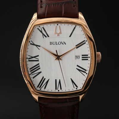 Bulova Ambassador Rose Gold Tone Quartz Wristwatch