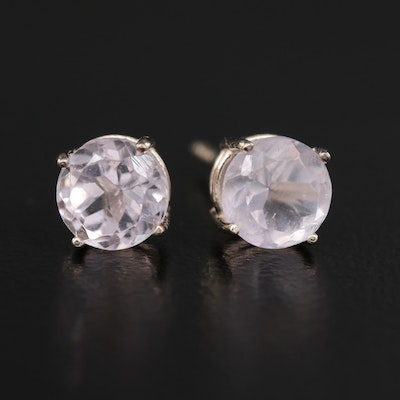 14K Rose Quartz and Amethyst Stud Earrings
