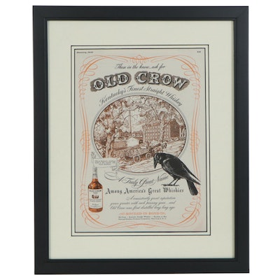 Offset Lithograph Advertisement for Old Crow Bourbon, 1946