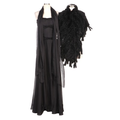 Black Silk Strapless Evening Dress, Chiffon Scarf and Faux Fur Wrap