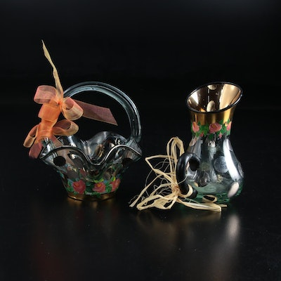 MacKenzie Child's Hand-Painted Glass Pitcher and Basket