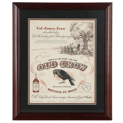 Offset Lithograph Advertisement for Old Crow Bourbon, Circa 1940