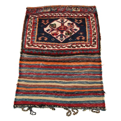 1'11 x 2'11 Handwoven and Knotted Persian Kurdish Storage Bag, 1940s