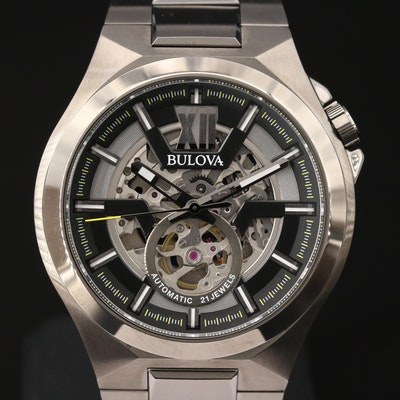 Bulova Maquina Skeleton Dial Gunmetal Automatic Wristwatch