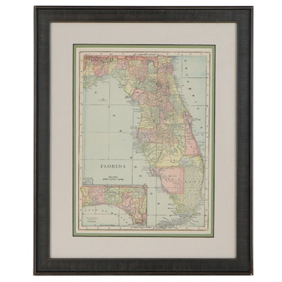Colored Wood Engraving Map of Florida