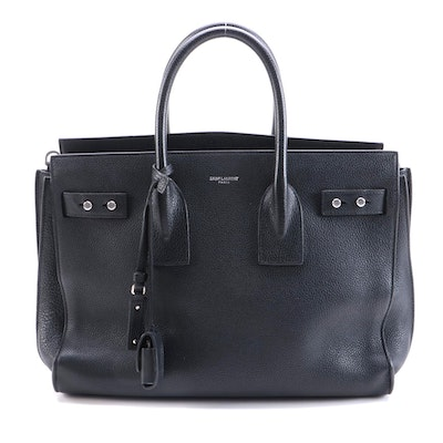 Saint Laurent Sac De Jour in Black Souple Leather