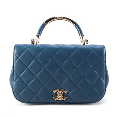 Chanel Carry Chic Two-Way Flap Bag in Blue Quilted Lambskin