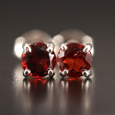 Sterling Garnet Stud Earrings