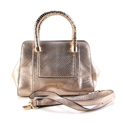 Bvlgari Serpenti Scaglie Small Tote Bag in Metallic Gold Python Embossed Leather