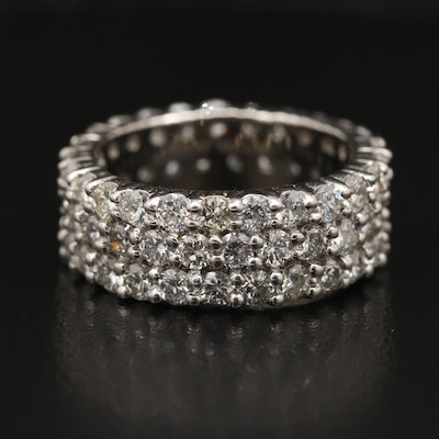 Platinum 4.13 CTW Diamond Triple Row Eternity Band