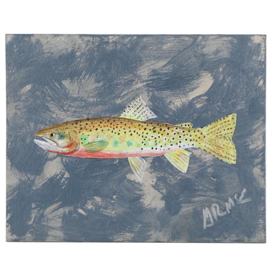 "George McElveen Acrylic Painting ""Westslope Cutthroat"""
