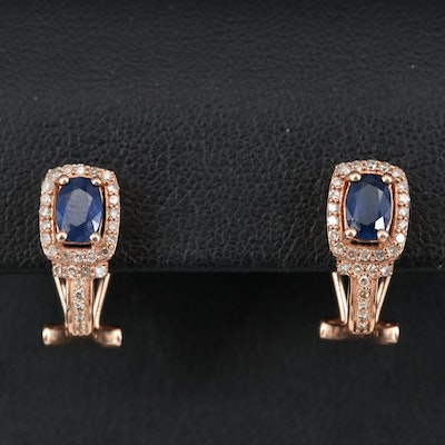 14K Sapphire and Diamond J Hoop Earrings