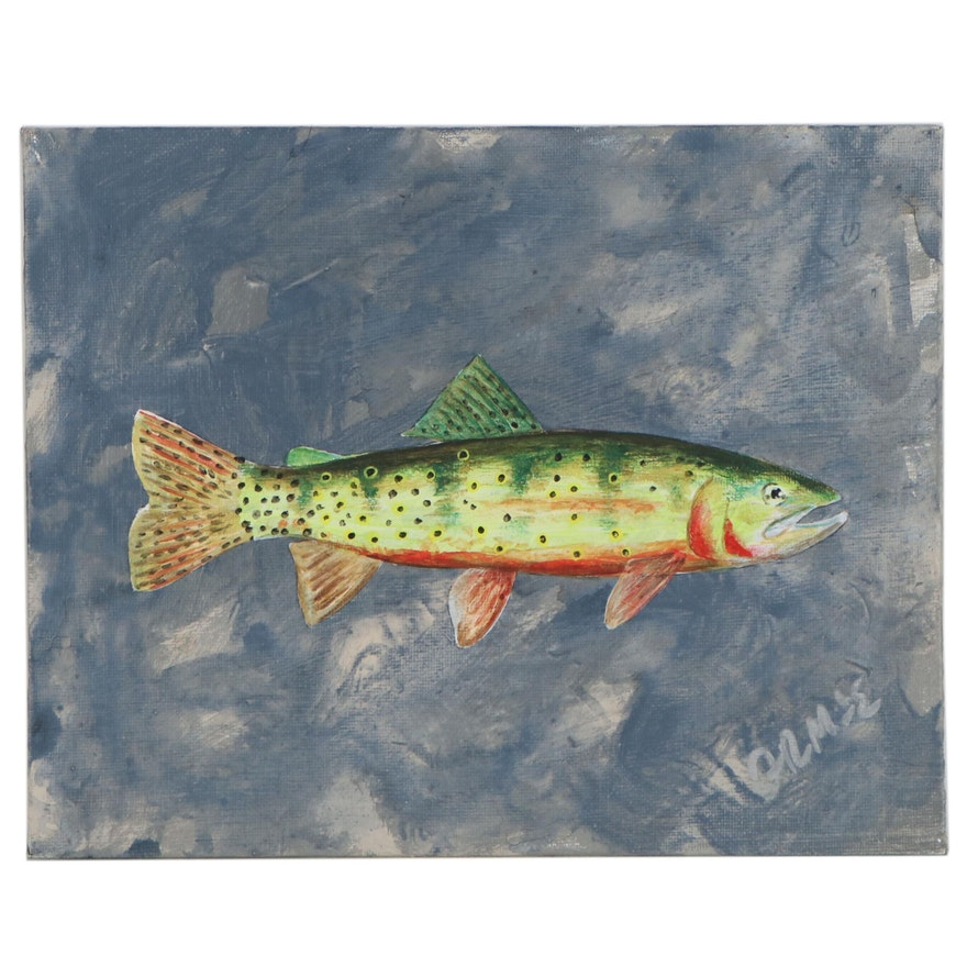 "George McElveen Acrylic Painting of Fish ""Greenback Cutthroat,"" 2020"