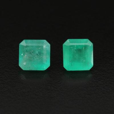 Loose 3.54 CTW Cut Cornered Rectangular Faceted Emeralds