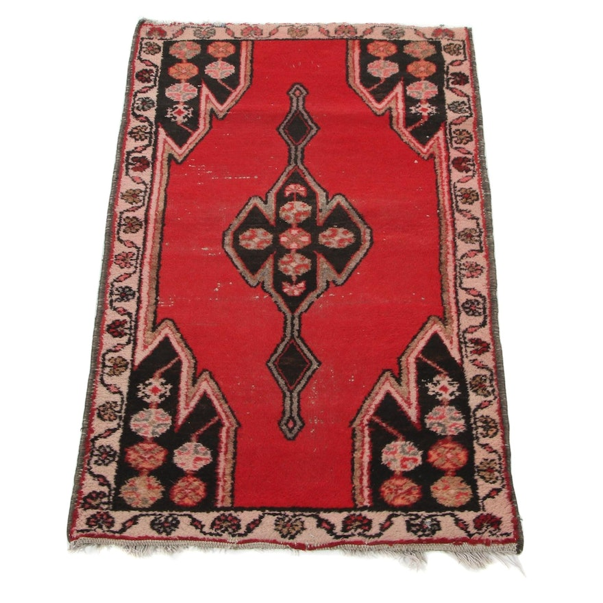 2'6 x 3'11 Hand-Knotted Persian Mazleghan Accent Rug, 1960s