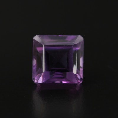 Loose 12.46 CT Cut Cornered Rectangular Faceted Amethyst