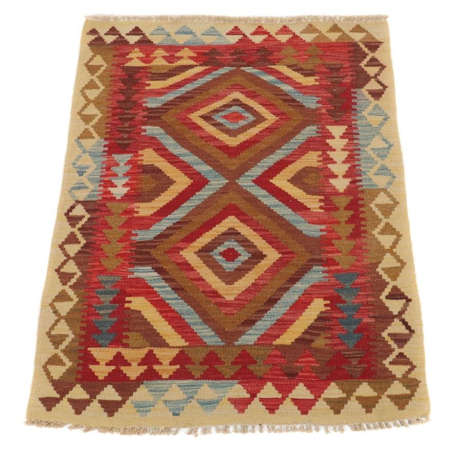 2'11 x 3'9 Handwoven Afghan Turkish Kilim Accent Rug
