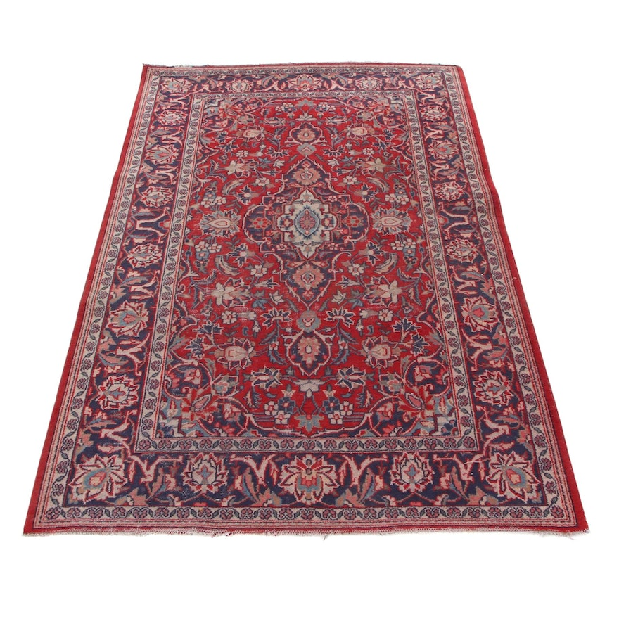 4'3 x 6'8 Hand-Knotted Persian Kashan Area Rug, 1960s