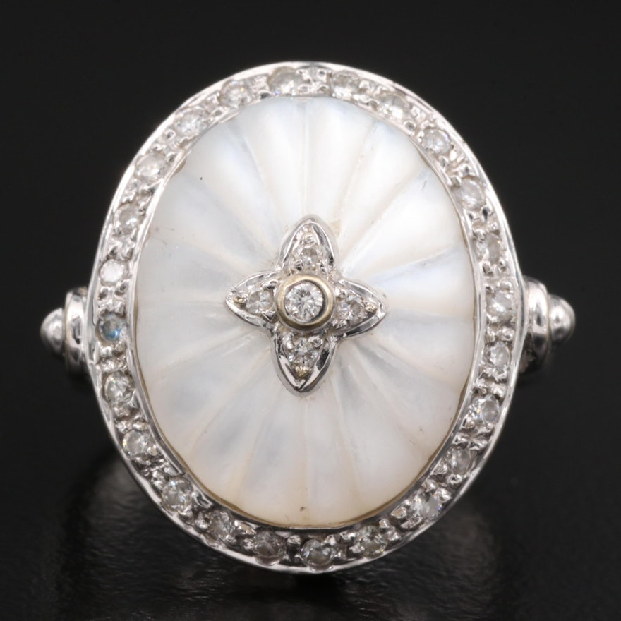 18K Carved Mother of Pearl and Diamond Halo Ring